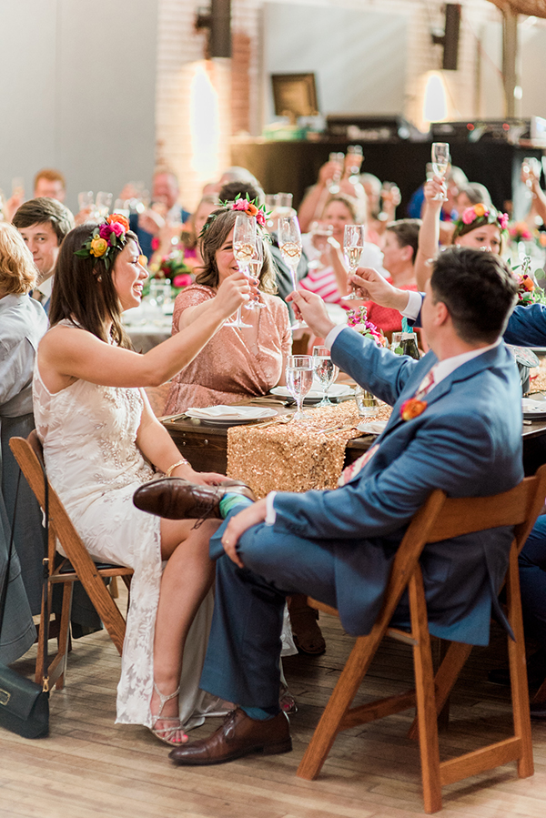 wedding toasts - photo by A.J. Dunlap Photography http://ruffledblog.com/brightly-colorful-sequined-wedding