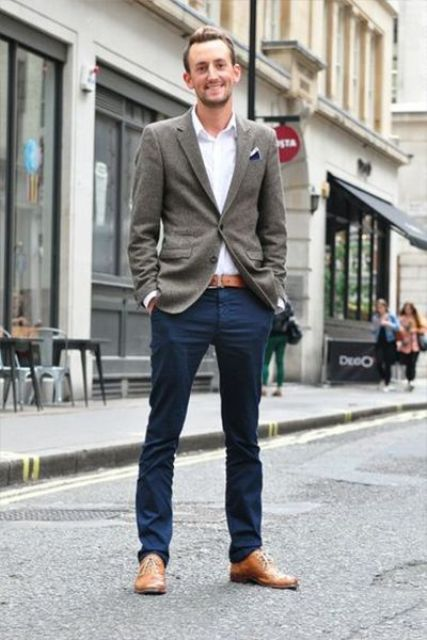 navy pants, a white shirt, a grey blazer and ocher accents