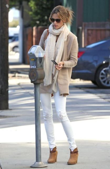 With neautral cardigan, white trousers and scarf