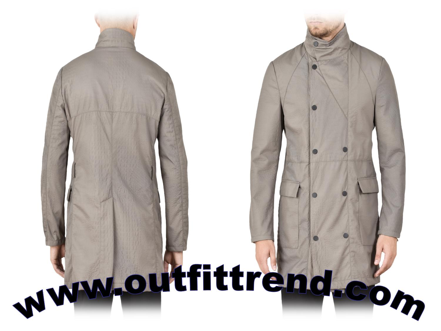 emorio armani male trench spring outfit