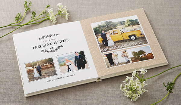 shutterfly wedding photo book premium layflat page album style rustic wedding photography theme