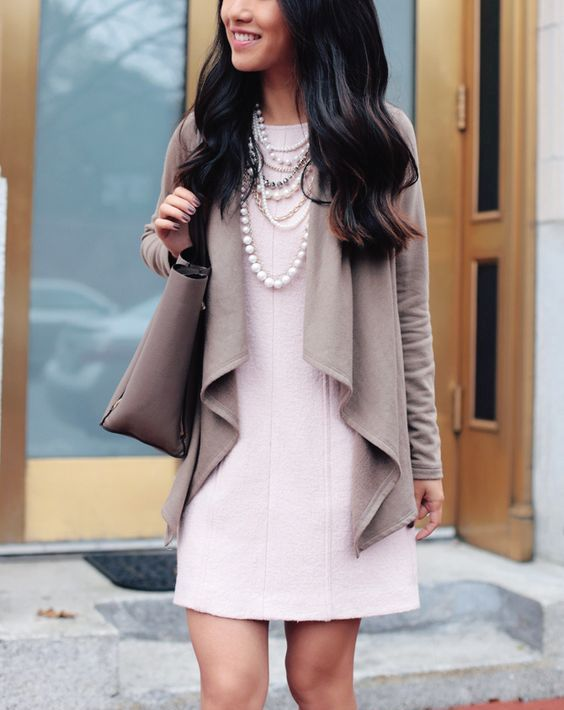 a drape cardigan, a rose quartz shift dress, pearls for the office