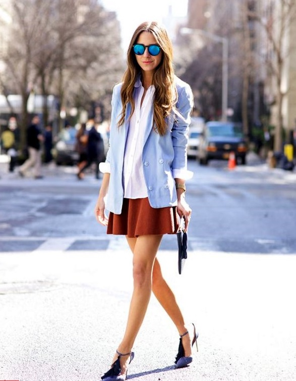 A-line skirt, a white button down, a serenity blazer and blue shoes