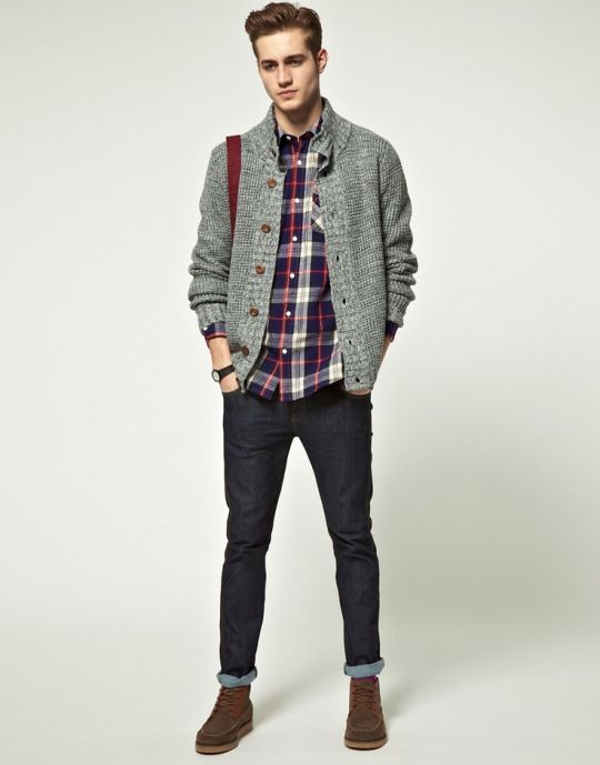 navy denim, a plaid shirt, a grey cardigan and suede boots