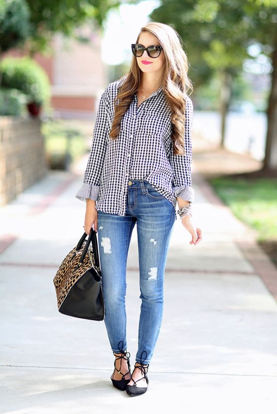 blue denim, a gingham shirt and black lace up flats