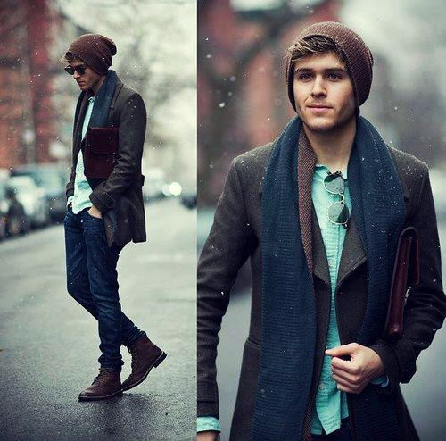jeans, a brown blazer, a shirt and a scarf, boots and a beanie