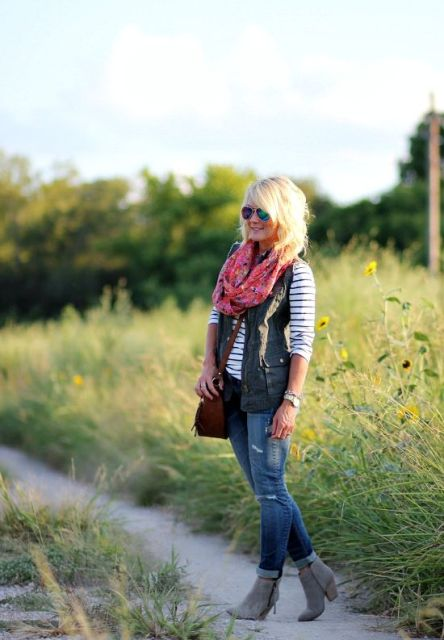 With striped shirt and bright color scarf