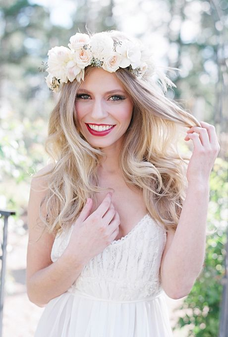 oversized blush and white flower crown