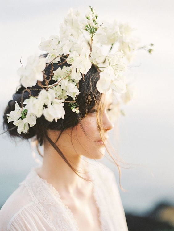 oversized white tropical flower bridal crown
