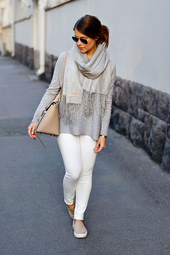 white jeans, a grey sweater, a grey blanket scarf and nude loafers