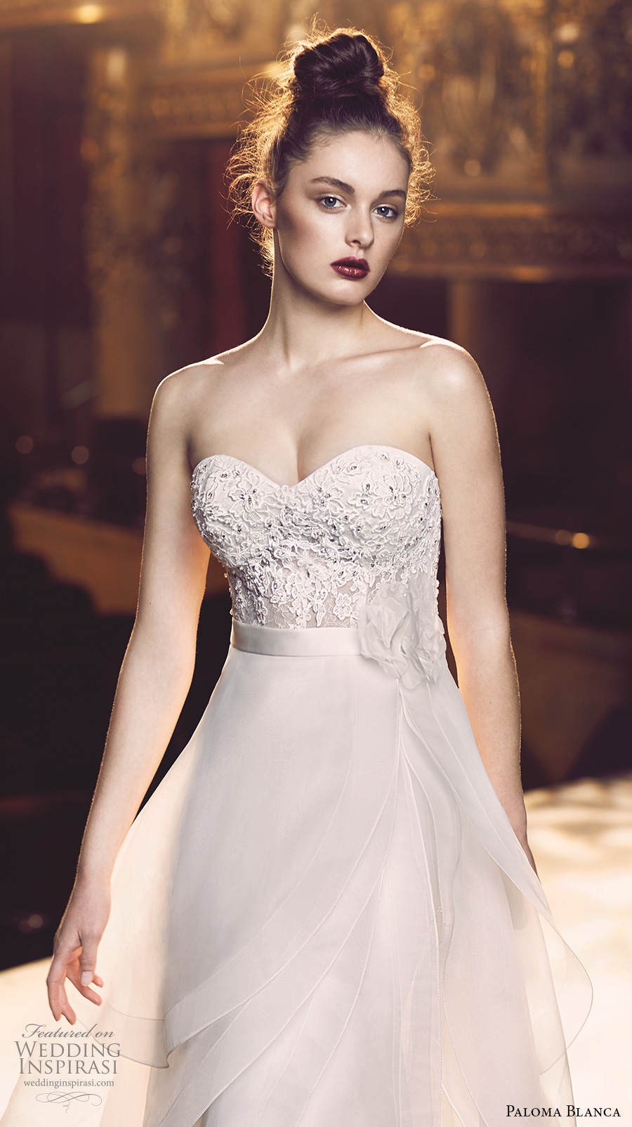 paloma blanca fall 2016 bridal strapless sweetheart neckline heavily embellished bodice sexy elegant sheath a line wedding dress detachable overskirt sweep train (4713) zv