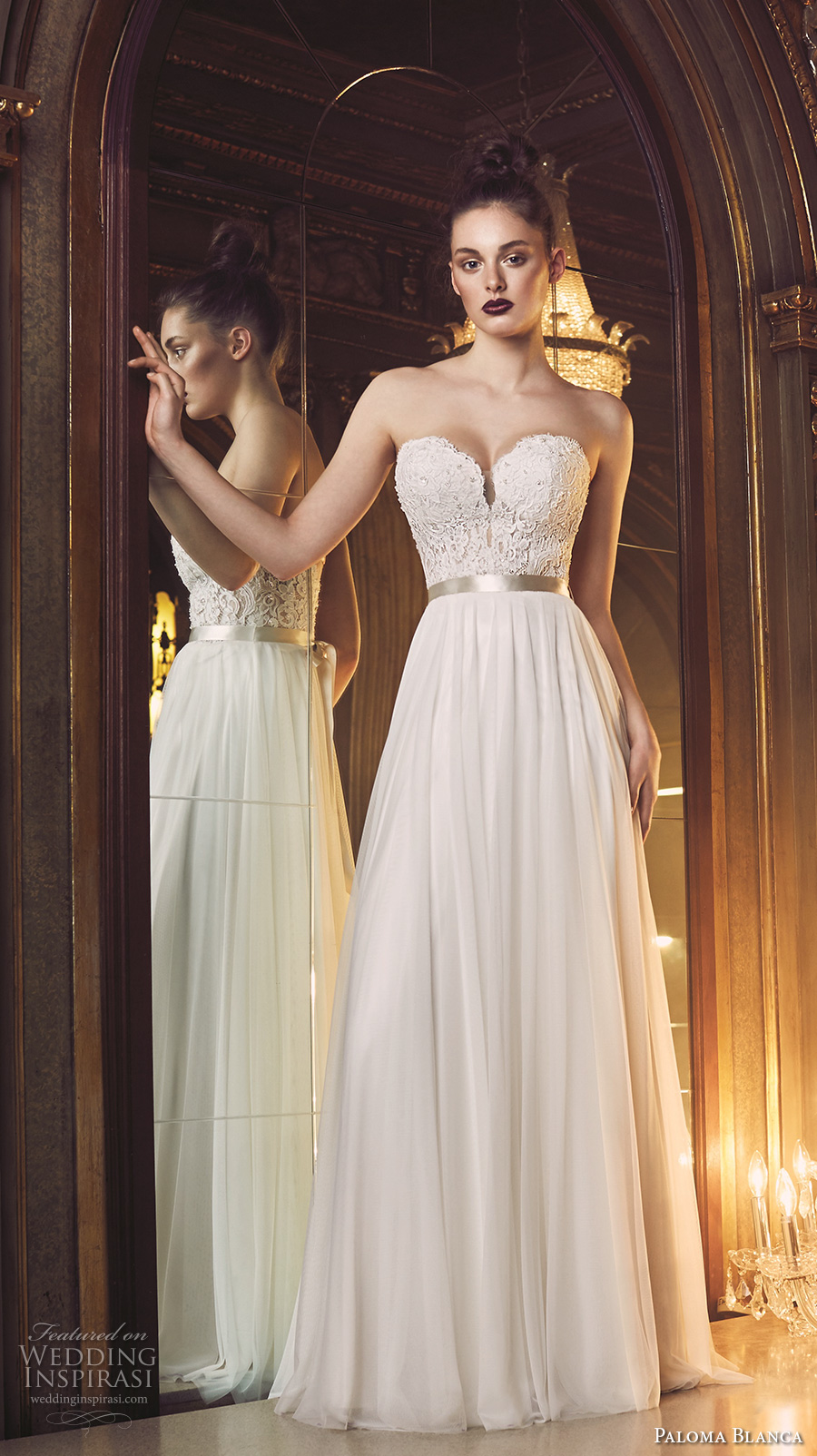 paloma blanca fall 2016 bridal strapless sweetheart neckline heavily embellished bodice sexy romantic a line wedding dress open back sweep train (4707) mv