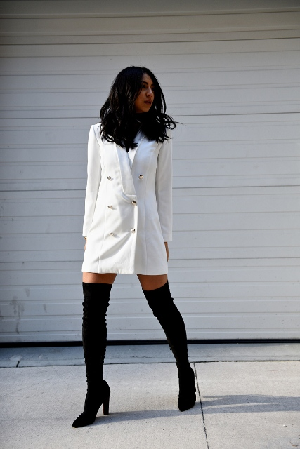 White dress with black high boots