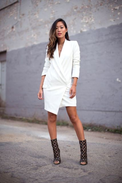 White dress with printed boots