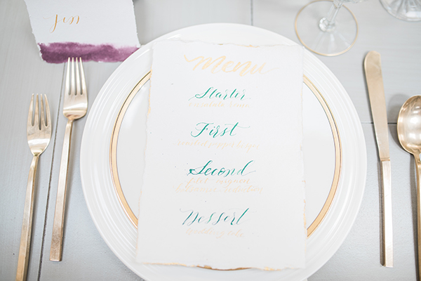 wedding menu - photo by Jillian Rose Photography http://ruffledblog.com/romantic-wedding-ideas-with-pops-of-jewel-tones