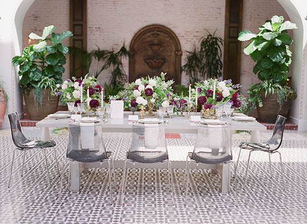 wedding reception ideas - photo by Jillian Rose Photography http://ruffledblog.com/romantic-wedding-ideas-with-pops-of-jewel-tones