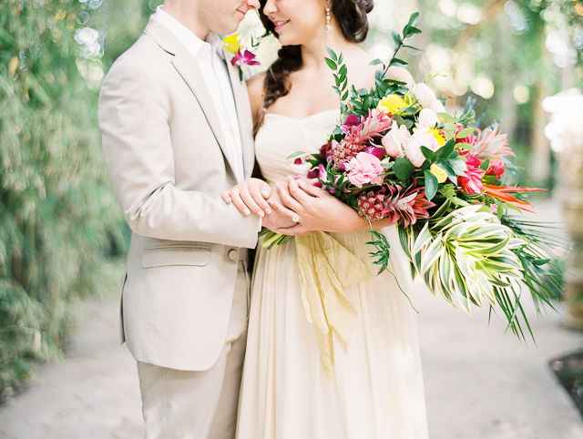 Tropical Hawaiian style bridal bouquet | Angelica Chang Photography