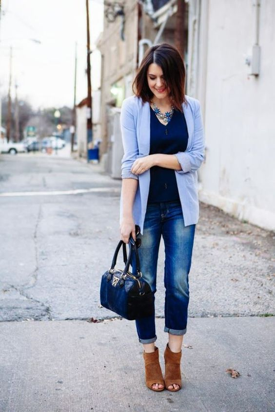 bleached jeans, a navy top, a serenity cardigan and brown booties (perfect for office)