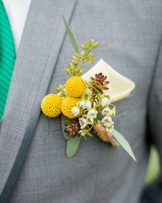 Yellow billy button boutonnière | Kelly Marie Photography