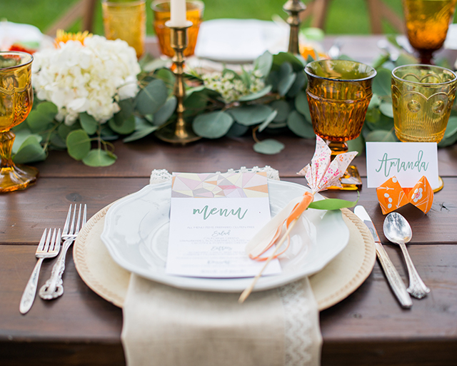 Origami place setting with place card holder and origami wedding menu | Kelly Marie Photography
