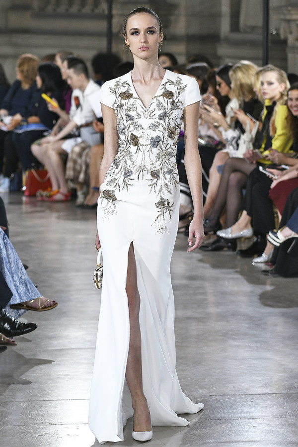 Georges Hobeika white maxi dress with bead embroidery