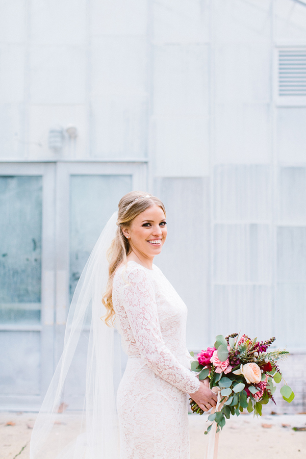 winter brides - photo by Redfield Photography http://ruffledblog.com/romantic-philadelphia-horticulture-center-wedding