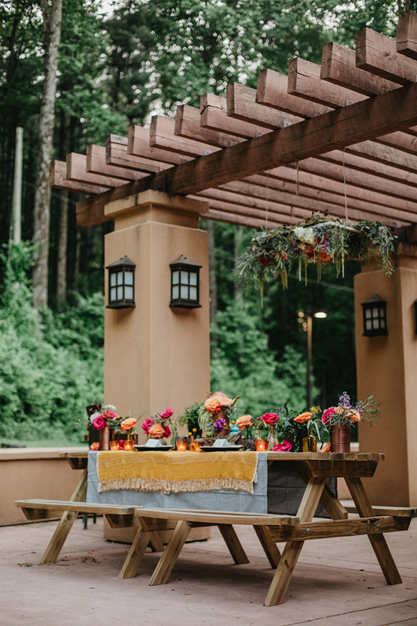 tablescapes - photo by L.A. Birdie Photography http://ruffledblog.com/colorful-summer-camp-wedding-editorial