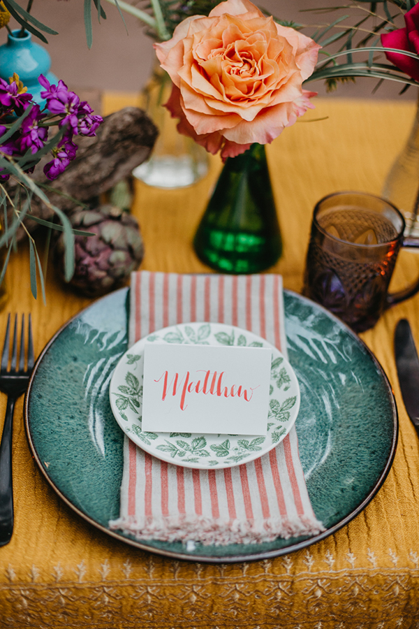 place settings - photo by L.A. Birdie Photography http://ruffledblog.com/colorful-summer-camp-wedding-editorial