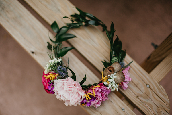 floral crowns - photo by L.A. Birdie Photography http://ruffledblog.com/colorful-summer-camp-wedding-editorial