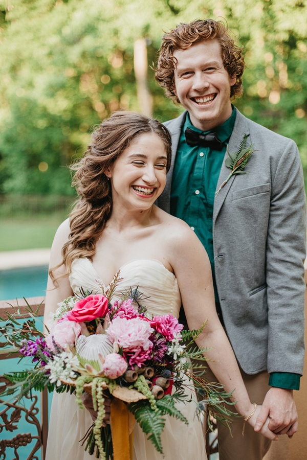 bride and groom - photo by L.A. Birdie Photography http://ruffledblog.com/colorful-summer-camp-wedding-editorial