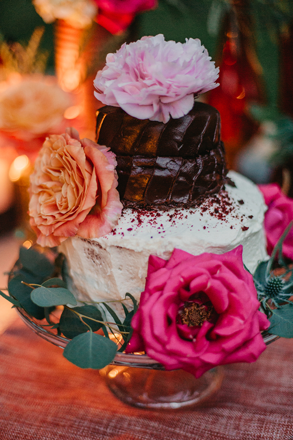 rustic wedding cake - photo by L.A. Birdie Photography http://ruffledblog.com/colorful-summer-camp-wedding-editorial