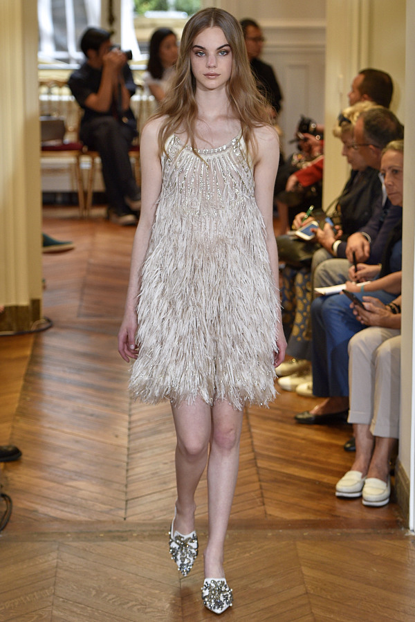 Alberta Ferretti rocked the fringe trend with this sparkling all-fringe wedding dress