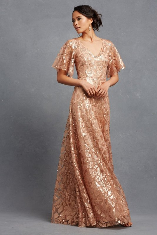 Wonderful glitter maxi dress with flutter sleeves
