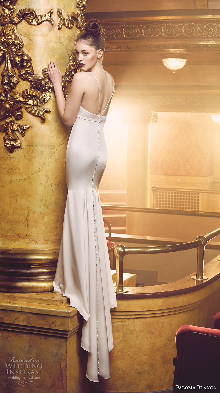paloma blanca fall 2016 bridal sleeveless deep v neckline simple clean design classic fit and flare wedding dress low back sweep train (4701) bv