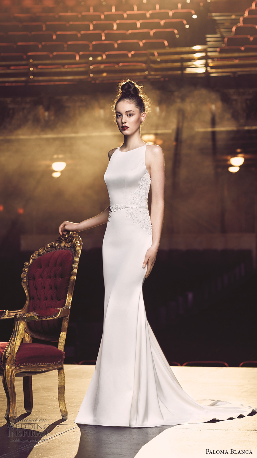 paloma blanca fall 2016 bridal sleeveless round neckline simple chic elegant fit and flare wedding dress low back sweep train (4703) mv
