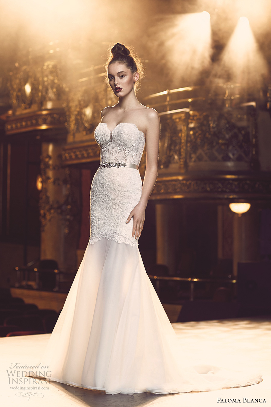 paloma blanca fall 2016 bridal strapless sweetheart neckline bustier heavily embellished bodice sexy trumpet wedding dress chapel train (4700) mv