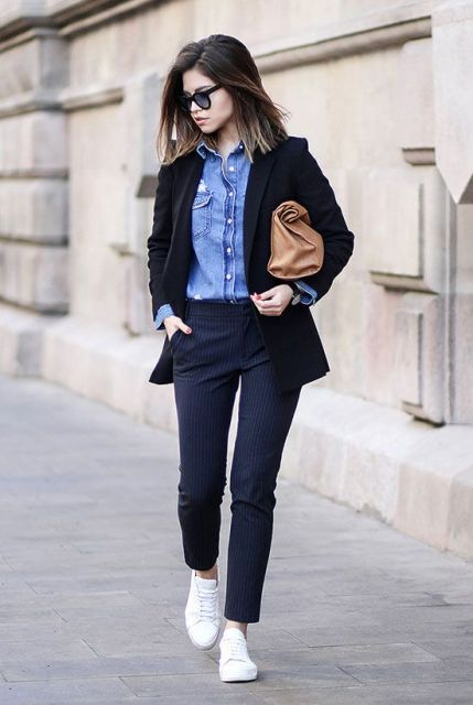 22 Elegant Navy Blue Trousers Outfits For Ladies Beauty