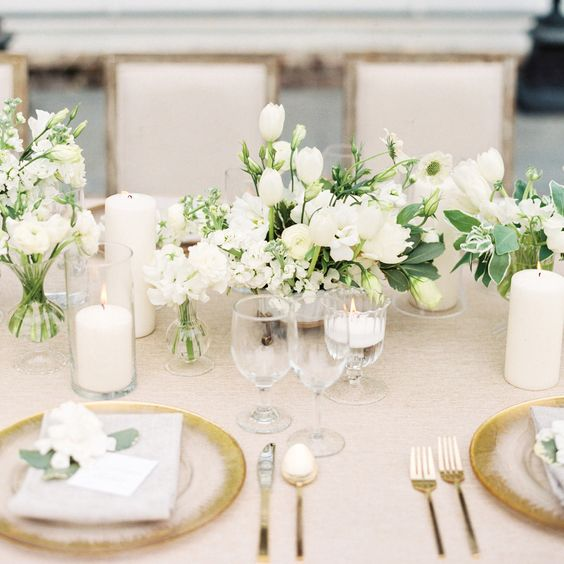 classic, all-white tablescape with gold touches