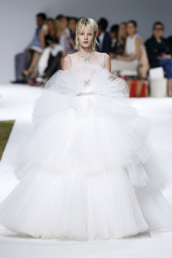 Giambattista Valli presented a tulle ball gown with silver detailing