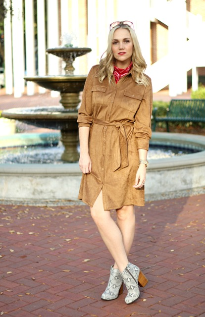 Suede shirtdress with printed boots