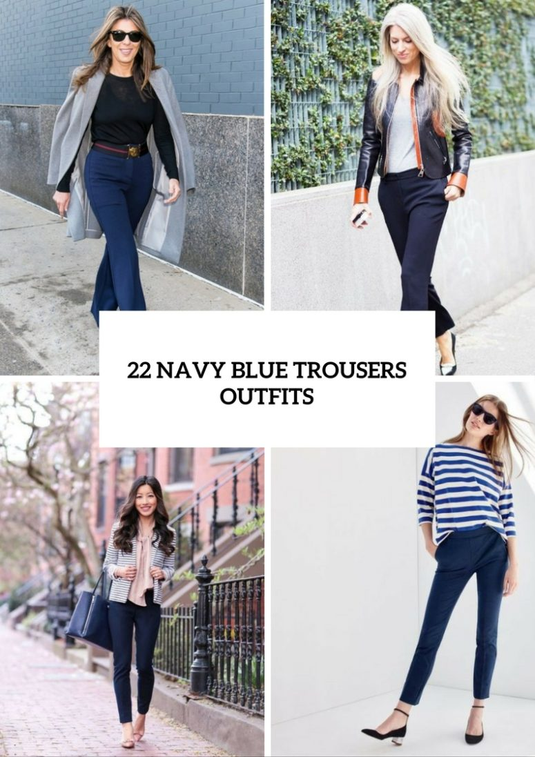 Elegant Navy Blue Trousers Outfits For Ladies