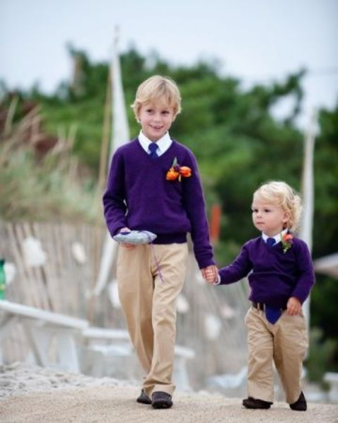 Outfit with purple sweater, white shirt, tie and beige pants