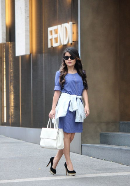With white classic bag and black shoes