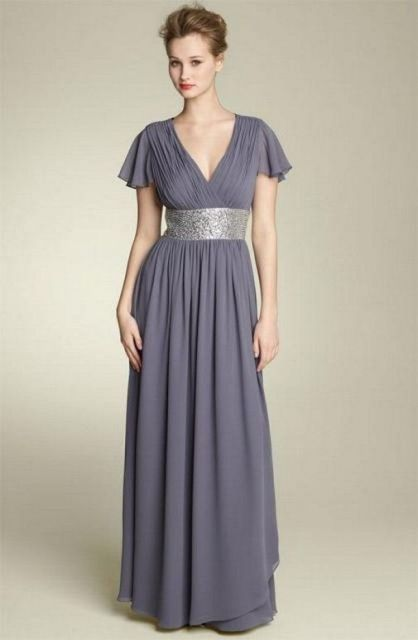 Gray maxi dress with metallic belt