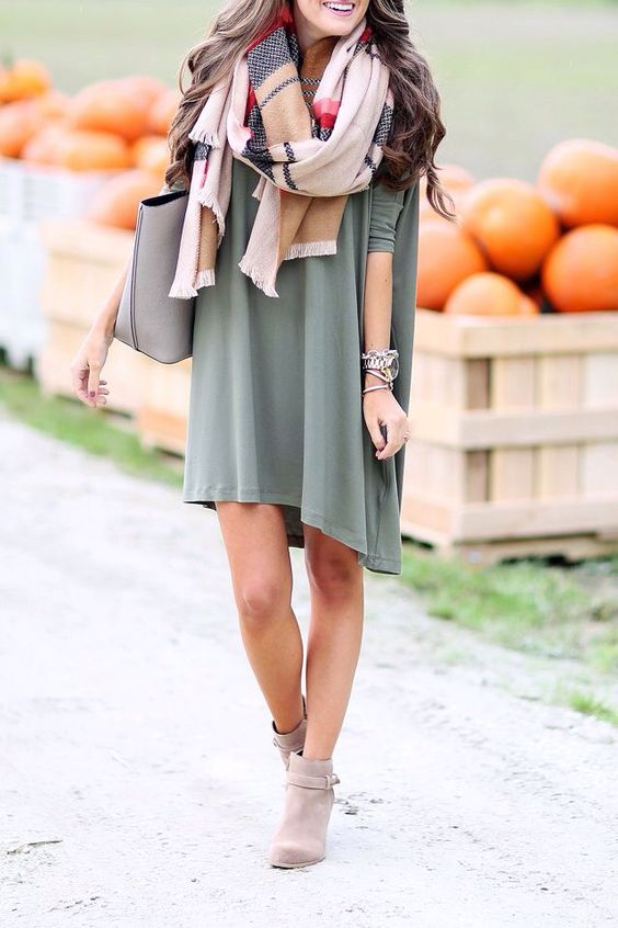 olive green swing dress, a blanket plaid scarf and brown ankle booties