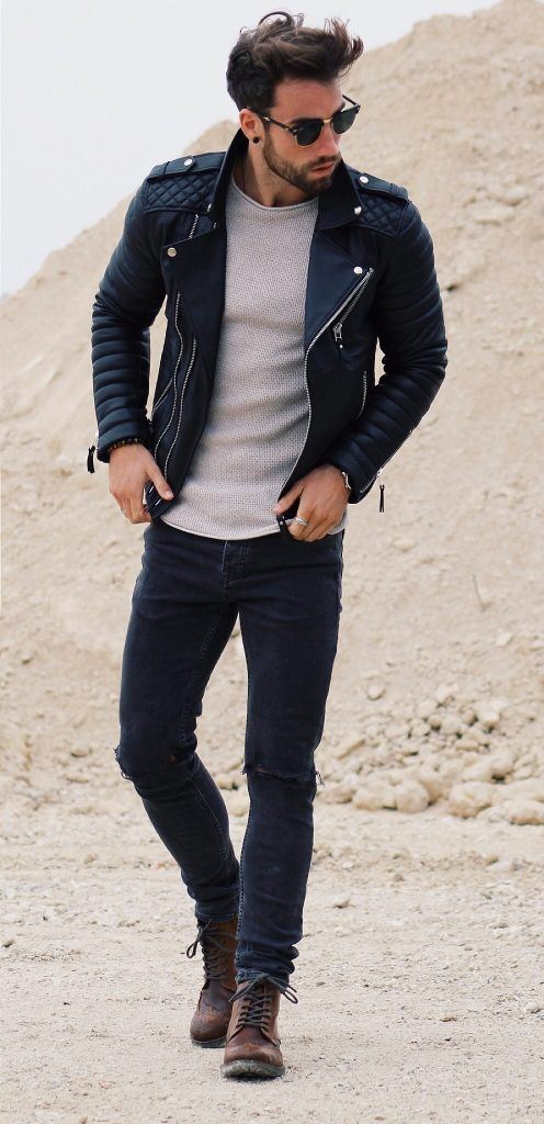 Ideas for Men to wear Leather Jackets (12)