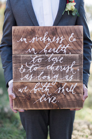 Hand lettered weathered wood wedding sign | Molly Lichten Photography