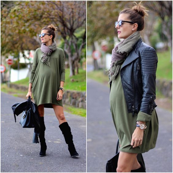 olive green dress, a plaid scarf, a leather jacket and suede boots