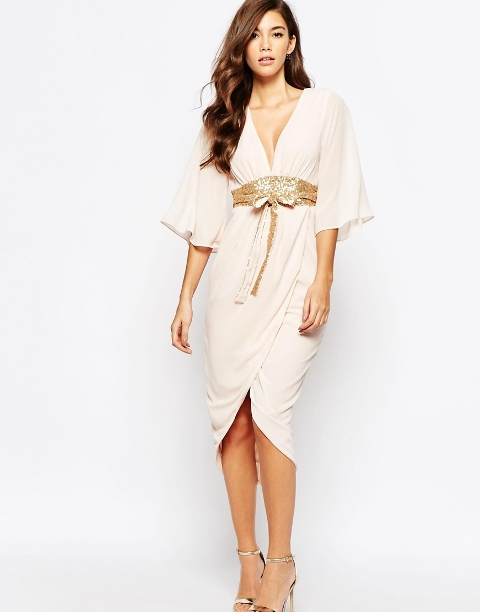 Chiffon creme dress with golden belt