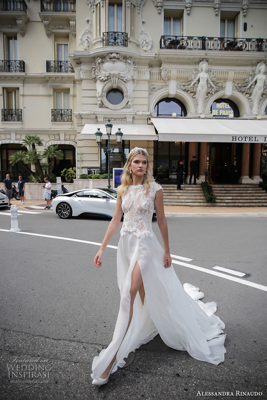 alessandra rinaudo 2017 bridal cap sleeves bateau neckline heavily embellished bodice sexy slit a line wedding dress lace back chapel train (6) mv